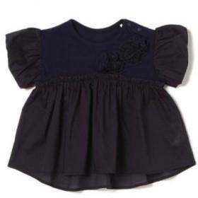 ピューピルハウス/お花モチーフつきバルーン袖Tシャツ