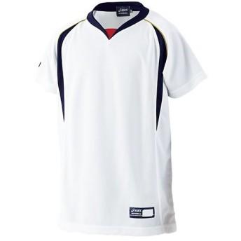アシックス(asics) ジュニア 野球ウェア プラクティスシャツ ホワイト×ネイビー BAD04J 0150 男の子 女の子 半袖 Tシャツ キッズ 部活 練習着