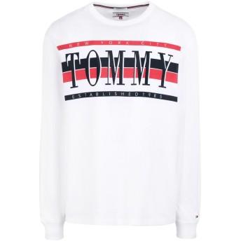 《期間限定 セール開催中》TOMMY JEANS メンズ T シャツ ホワイト L コットン BCI 100%