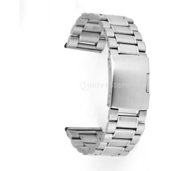 五珠ソリッドステンレスベルト 固体のステンレス腕時計バンド26ミリメートル 銀色