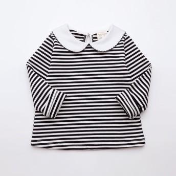 Tシャツ - PlusNao カットソー 長袖 ピーターパンカラー ボーダー柄 子供用 キッズ トップス 背中ボタン 長袖Tシャツ おしゃれ 可愛い かわいい 定番女の子 女児 子供服 子ども服 こども服