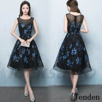 レディース 花柄 ひざ丈 ドレス