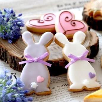 うさぎとハートのアイシングクッキー(rabbit & heart's icing cookie)