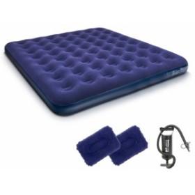 エアーベッド 簡易ベッド エアーマットクイーンサイズ キャップベッド 車中泊マット エアーポンプ付 枕2個PVCベロア 2-4人用