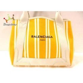 バレンシアガ BALENCIAGA トートバッグ ネイビーカバS 339933 イエロー×アイボリー ストライプ  値下げ 20190225