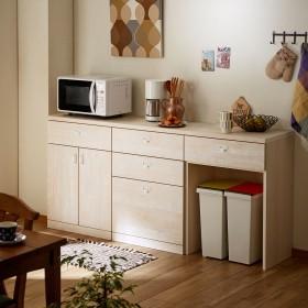 【受注生産】キッチンにぴったり!壁面収納ローキャビネット ザラメ(MIEL-3)