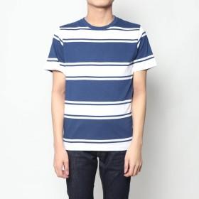 スタイルブロック STYLEBLOCK ランダムボーダー柄クルーネック半袖Tシャツ (ネイビー)
