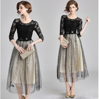 パーティードレス ロングドレス 袖あり ワンピース 結婚式 お呼ばれドレス ミモレ丈 二次会 同窓会 大きいサイズXXL 20代30代