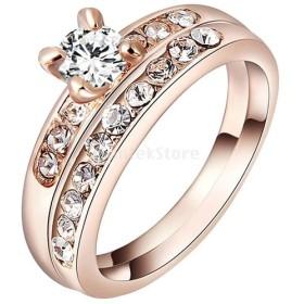 指輪 リング ローズゴールド ラインストーン 光沢 結婚式 花嫁 豪華 ジュエリー 魅力 全4サイズ - サイズ6
