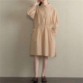 ワンピース 森ガール 長袖 体型カバー オープン・カラー オーバーサイズ プリントワンピース 大人