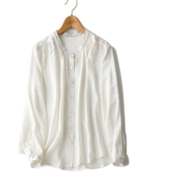 ★数限定★シルク100% 上品感あふれのシルクシャツ ドット柄 長袖 透け感なし