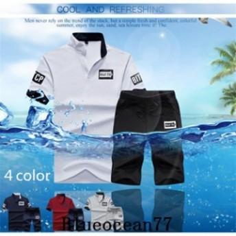 セットアップ 上下セット 半袖 半袖 ショートパンツ カジュアル Tシャツ 運動風 夏新品 スポーツウェア ハーフパンツ ジャージ メンズ