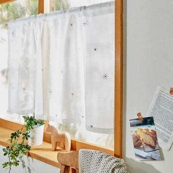 スパンコール刺繍の小花柄カフェカーテン(小窓カーテン)