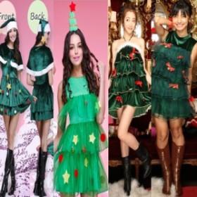 クリスマスコスプレ ワンピース 帽子 レディース ふわもこツリーちゃん Xmasパーティー 仮装 クリスマスコスチューム 女性用 ツリーコス