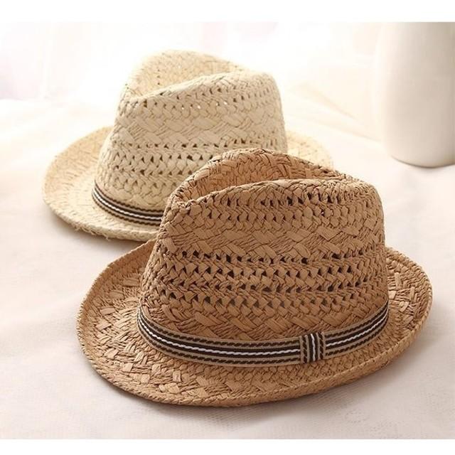 麦わら帽子 ハット 中折れ帽子 ストローハット ペーパーハット 大人用 子供用 キッズ用 リボン付き ライン入り 日よけ 日焼け防止 UV対策 大人