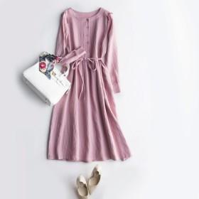 (再販5)特製リネン生地 切り替えワンピース linen ロング丈 浅いピンク