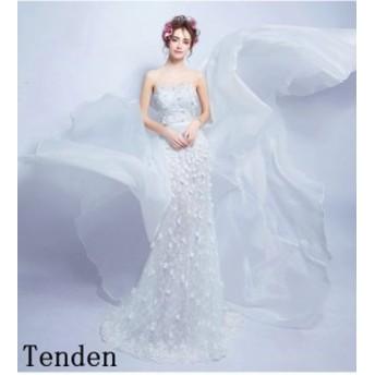 ウェディングドレス マーメイドライン ウエディングドレス マーメイドドレス シンプルドレス ホワイト ロングドレス 白 トレーンドレ 花