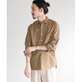 【50%OFF】 アーバンリサーチ フェザーコットンチェックシャツ メンズ BEG/MOCHA M 【URBAN RESEARCH】 【セール開催中】