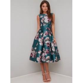 【送料無料】チチロンドン ワンピース グリーン フローラル ミディドレス CHI CHI BRYONY DRESS