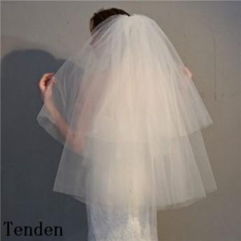 ウェディングベール花嫁ベール ヴェールウェディング結婚式ブライダル2次会パーティ 花嫁様ウェディングドレス小物 ゴム付きベ