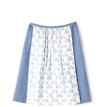 ヒューマンウーマン HUMAN WOMAN 《arrive paris》フレアラインミディスカート ブルー S【税込10,800円以上購入で送料無料】