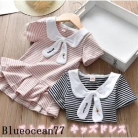 ベビー服 子供服 女の子 半袖 プリーツ シンプル ドレス ワンピース ベーシック