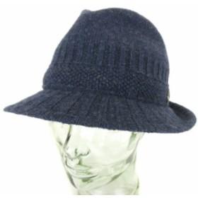 【中古】オーバーライド override 帽子 ハット 中折れ ニット ウール混 M 紺 ネイビー ☆F☆ /nn0118 メンズ