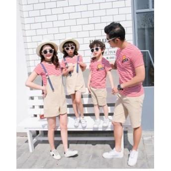 親子 ペアルック 夏 Tシャツ 夏 ボーダー ストライプ 姉妹お揃い兄弟ペア服 つりスカート 半袖 ショートパンツ ビーチ 2点以上 家族お揃
