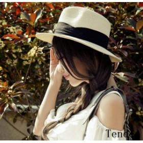 麦わら帽子 UVカット 帽子 レディース 小顔効果 ハット 女性用 つば広 紫外線対策 ペーパーハット 夏 大きいサイズ 春 リボン ストローハ