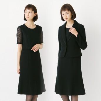 ブラックフォーマルショールカラーレースワンピース2点セット【喪服・礼服】