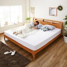 キングサイズ!アルダー材の棚付きベッド(シングルマットレス2個付き)