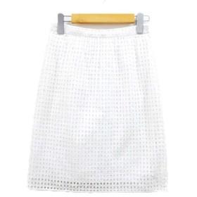 デザインワークス DESIGNWORKS エンブロイダリーレース スカート 台形 ひざ丈 コットン 白 ホワイト 38
