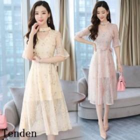 ワンピースドレス ワンピース パーティードレス ドレス フォーマル ゆったり 20代 着痩せ OL 40代 袖あり 通勤 結婚式 ワンピース ドレス