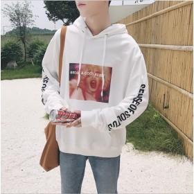 韓国ファッション 原宿風 韓国ファッション メンズファッション ブラック /ホワイト パーカー パーカー 長袖 2018秋冬 秋物 冬服