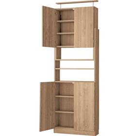 突っ張り書棚ラック 本体扉付き 幅75 ライトブラウン 幅75×奥行24×高さ184-265cm 本棚・書棚・AVストッカー