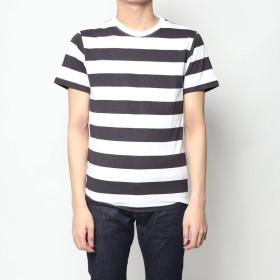 スタイルブロック STYLEBLOCK 太ボーダー柄クルーネック半袖Tシャツ (ブラック)