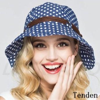 帽子 レディース ワイドハット つば広ハット UVカット 上品 紫外線対策 アウトドア キャップ 綿 ドット柄 ハット 可愛い オシャレ 日焼け