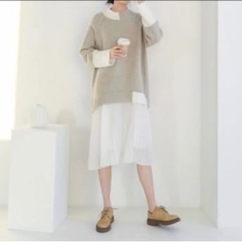 2019☆春新作!!シフォンプリーツスカートとオーバーサイズセーターの重ね着風、ナチュラル系、清楚なワンピース♪春ワンピ☆C31305