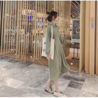 2019☆春新作!!レトロな印象を与える、ハート柄のドットが可愛い、リボンベルト付き、ガーリーワンピース♪春ワンピ☆C31320