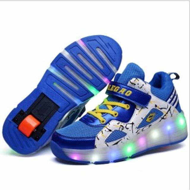 535a1afd3bf4a ローラーシューズ 1輪 光る靴 LED内蔵 子供 学生 ローラースケート キッズ スポーツ用品 男女