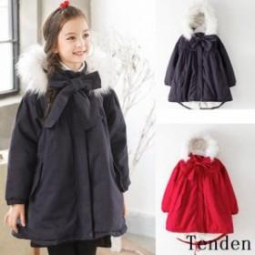子供ジャケット ファーコート モッズコート女の子 キルティングジャケット 韓国風ロングコート アウター 子供服中綿コート 裏ボアレジャ