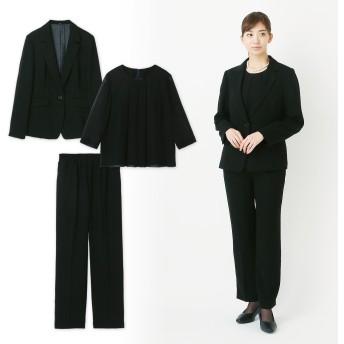 【喪服・礼服】ブラックフォーマルパンツスーツ3点セット9~17AR】
