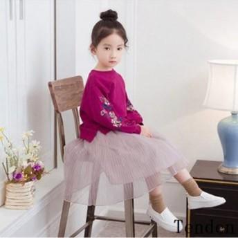 韓国子供服 ワンピース フォーマル◇キッズドレス 子供ドレス 発表会 kids dress 結婚式 上下セット 長袖 チュールスカート チュールワン