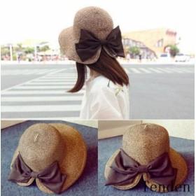 UVカット 帽子 レディース 春 リボン 紫外線対策 麦わら帽子 小顔効果 夏 ストローハット 折りたたみ ハット UV対策 女性用 大きいサイズ