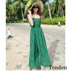 c714f2140b494 リゾート オールインワン ファッション ドレス ハワイ 大きいサイズ 春夏 ガウチョ レディース