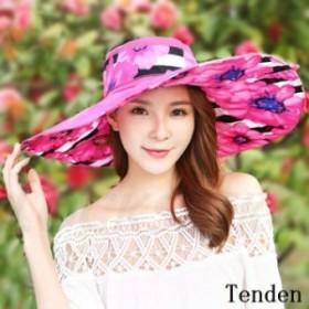 帽子 ワイドハット レディース 紫外線対策 つば広ハット 花柄 日焼け 旅行 無地 上品 小顔効果抜群 紫外線カット 可愛い オシャレ UVカッ