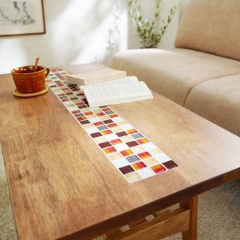 タイルが可愛い棚付きリビングテーブル