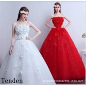 特価 激安 安い 二次会ドレス レース ベアトップ 刺繍 花嫁ドレス ビスチェ 編み上げ ロングドレス ウエディングドレス ウェディングドレ
