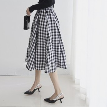 フレアスカート ギンガムチェック プリーツスカート マキシ丈 ボリューミー kk22