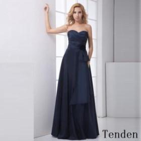 ドレス レディース パーティードレス フレアスカート ベアトップ 花 大きいサイズ エレガント サテン ロングドレス